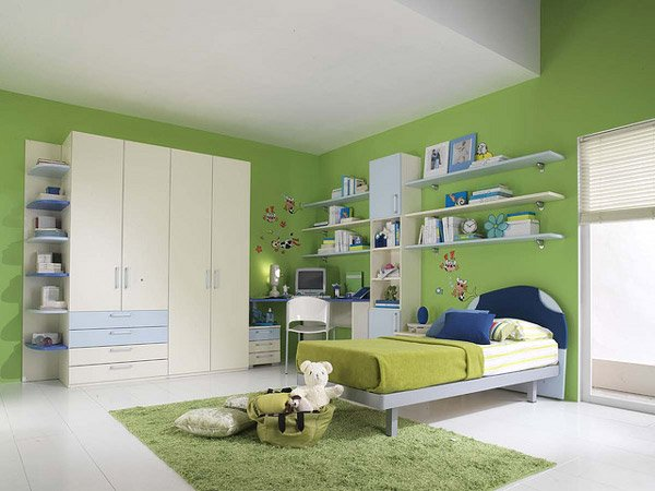 20 vibrant and lively kids bedroom designs home design lover for Bedroom interior designs green