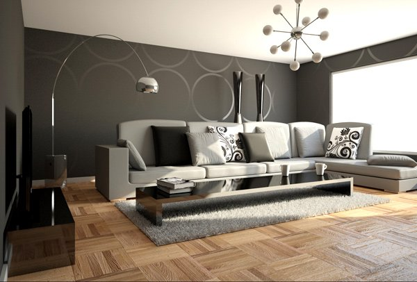 black grey and white - Minimalist Interior Design Living Room