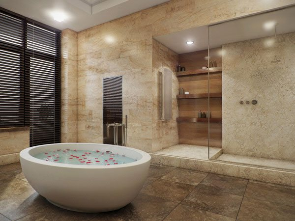 Baño De Lujo Moderno:Wood Panel Bathroom Designs