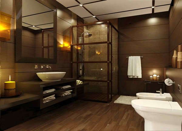 15 stunning modern bathroom designs home design lover for Brown tile bathroom ideas