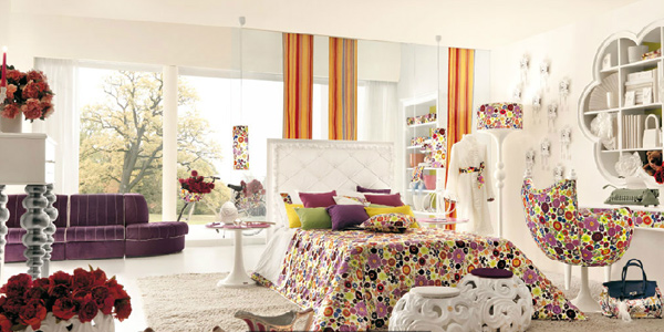 Use bright colored window treatments