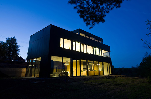 Front Part of Modern House at Night