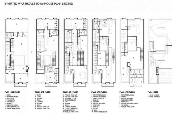 The inverted warehouse townhouse of new york home design for Warehouse house plans