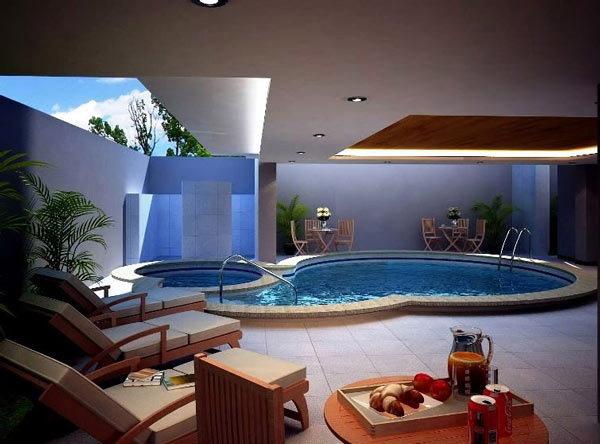 Pretty Relaxing Indoor Pool Design