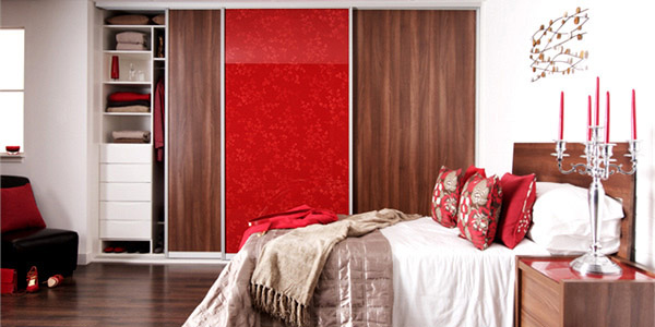 Walnut Red Glass Bedroom