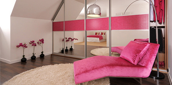 Pink Crocodile Leather Mirror Bedroom