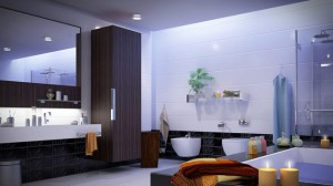 how to decorate large bathroom