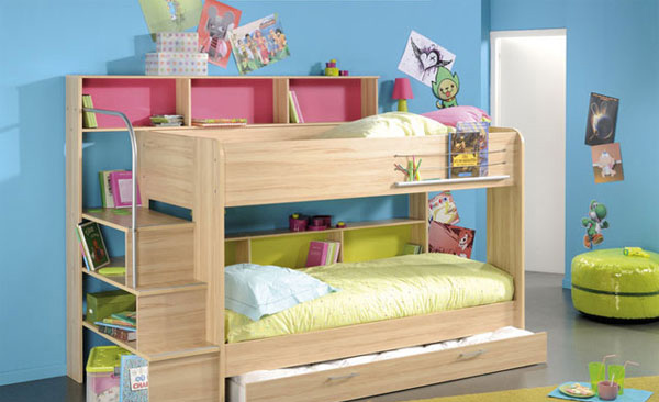 this bunk bed would please kids since it has storage areas under the