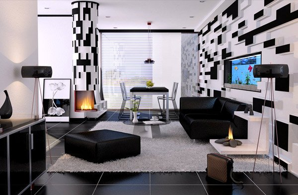 20 modern contemporary black and white living rooms home for Salon noir et blanc