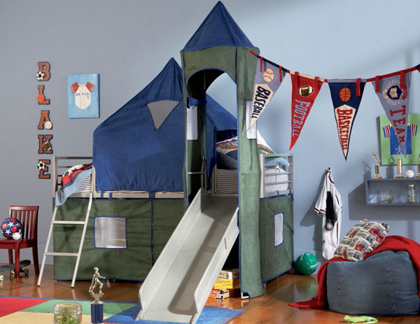 Boys Blue Green Tent Bunk Bed