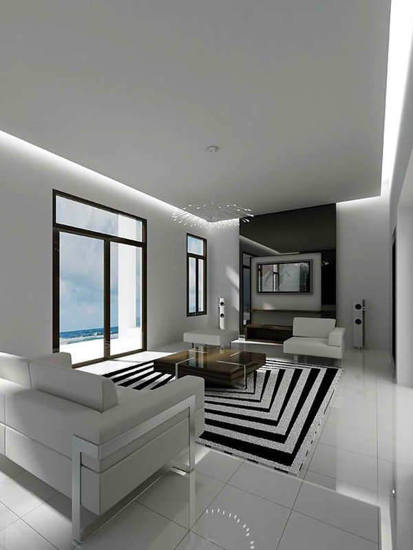 20 modern contemporary black and white living rooms home for Modern living room black and white