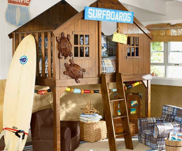 Kid 39 s bedroom furniture exciting loft bed designs home for Fort bedroom ideas