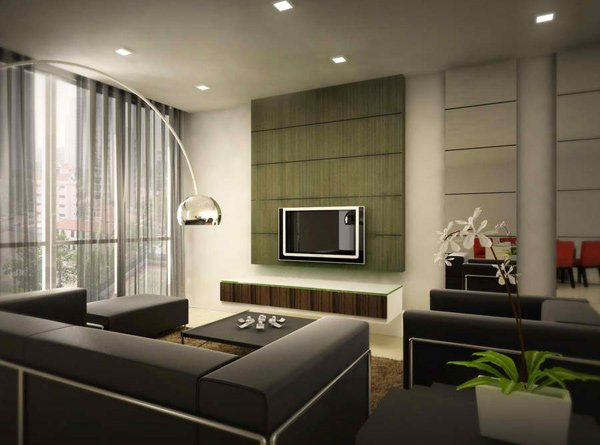 20 modern contemporary black and white living rooms home for Simple modern living room