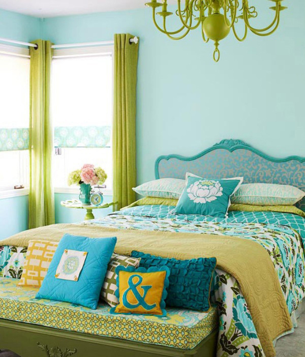 Blue Framed Wallpaper Headboard