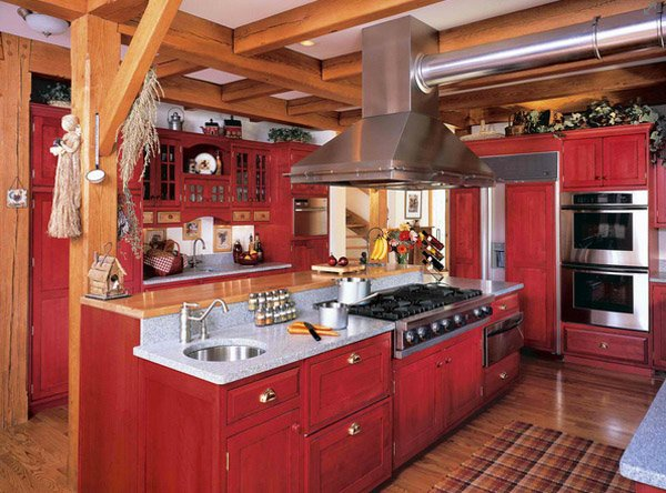 15 stunning red kitchen ideas home design lover for Barn style kitchen cabinets