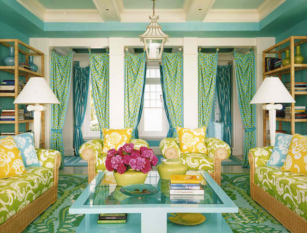 Sala Colorful Living Room Ideas With Nice Printed Sofa Seaters And Unique  Curtains (via Homedesignlover.com) Part 38