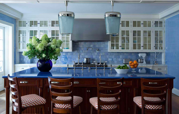 mosaic tiles bakcsplash - Blue Kitchen Ideas