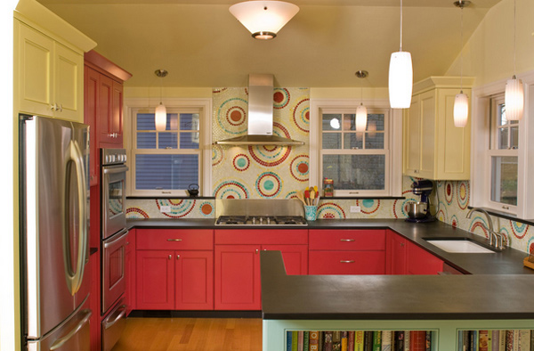 Pretty Bright Small Kitchen Color For Apartment Colorful Kitchen Designs