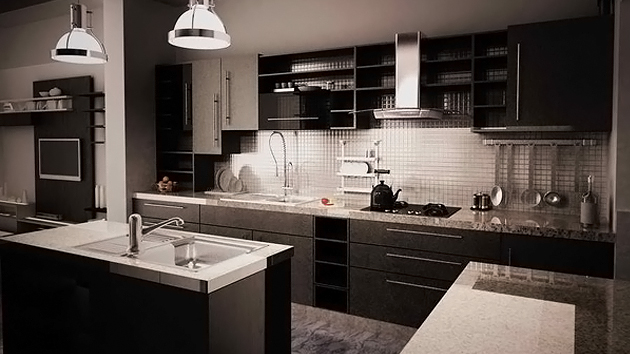15 bold and black kitchen designs home design lover for Kitchen remodel ideas black granite