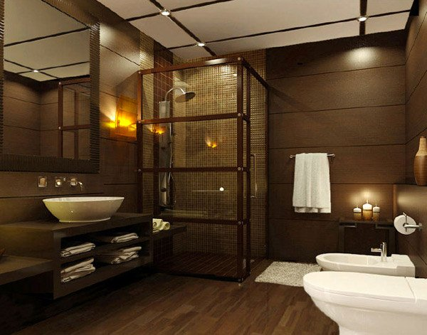18 sophisticated brown bathroom ideas home design lover for Dark bathrooms design
