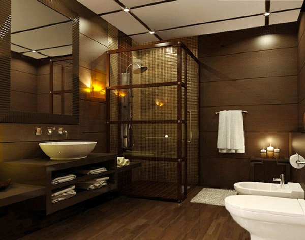 20 beautifully done wooden bathroom designs home design for Dark wood bathroom designs
