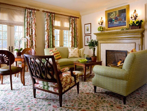 Warm And Cozy Country Inspired Living Room Design Green Room Designs