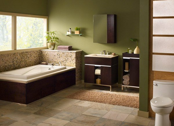 18 relaxing and fresh green bathroom designs home design for Green bathroom paint colors