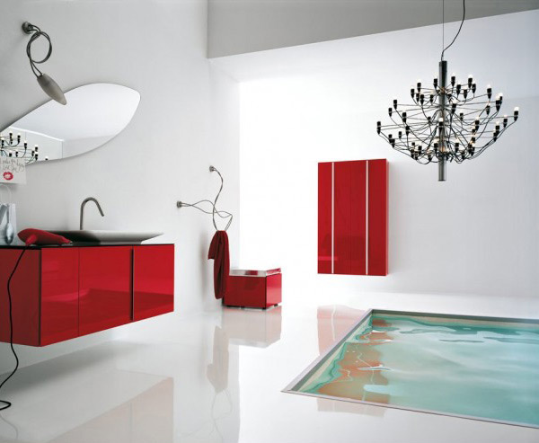 White Red Bathroom