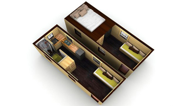 Mobile Tiny House Floor Plan 3D