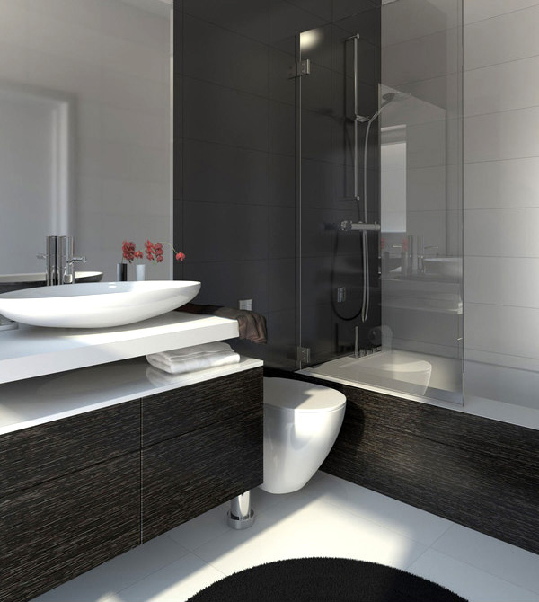 20 eye catching and luxurious black and white bathrooms for Banos modernos negro