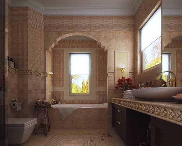 18 sophisticated brown bathroom ideas home design lover for Light brown bathroom ideas