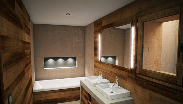20 beautifully done wooden bathroom designs home design for Bathroom in the woods