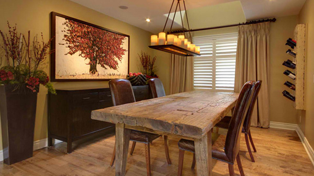 a wooden dining rooms