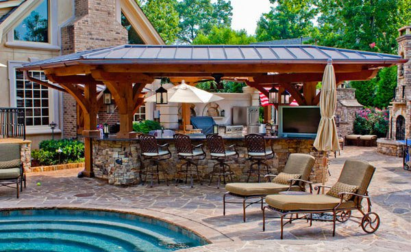15 outdoor kitchen designs for a great cooking aura home for Pool house designs with outdoor kitchen