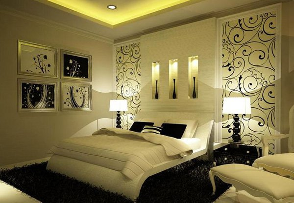 16 sensual and romantic bedroom designs home design lover for Black and white romantic bedroom ideas