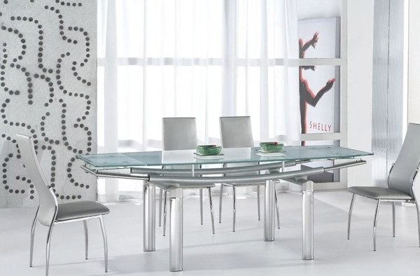 Serenity Ultra Modern Glass and Tube Dining Room