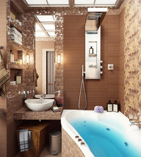 Brown Mosaic Bathroom