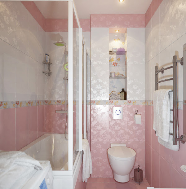 Small Pink And White Bathroom
