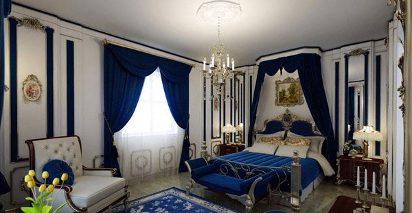 royal blue and gold bedroom ideas
