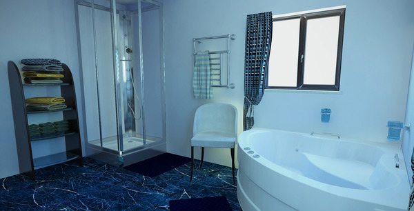 Small Blue Bathroom : ... and clean white bath tub are displayed in this small blue bathroom