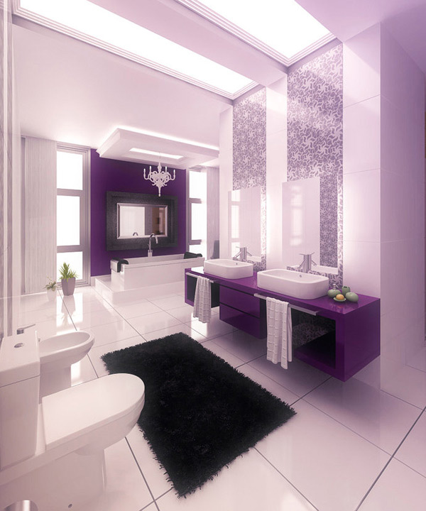 Purple White Bathroom