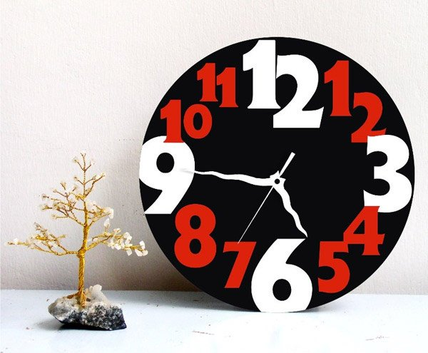 Big Numbers Typography Round Clock