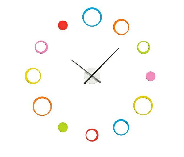 Circular Multi-Coloured Wall Clock