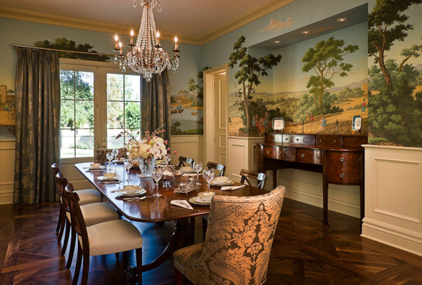 20 conventional dining rooms with wallpaper murals home for Dining room mural