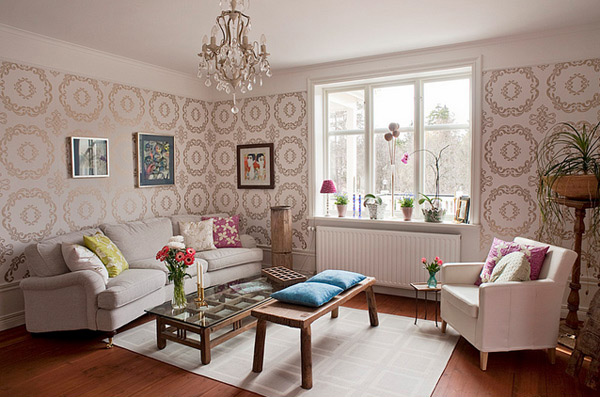 15 living rooms with printed wallpapers | home design lover