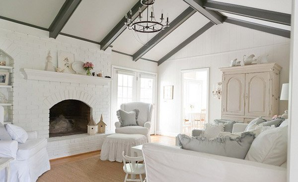 Distressed yet pretty white shabby chic living rooms for Grey shabby chic living room ideas