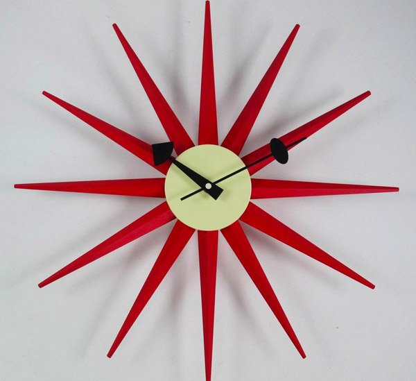 Sunburst Clock Red Modern Wall Clock