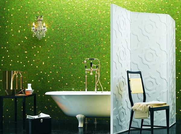 Green and Gold Mosaic Bath