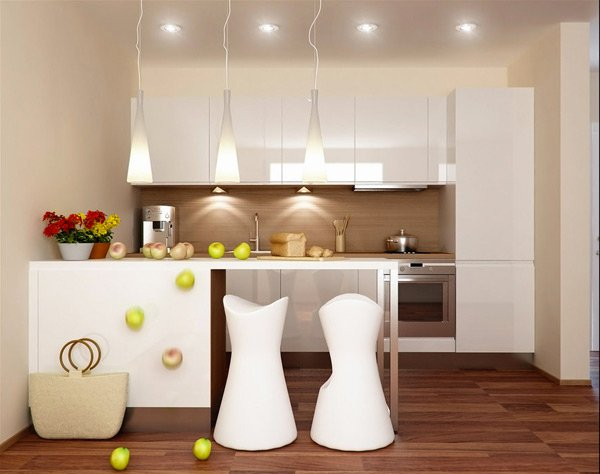 17 white and simple high gloss kitchen designs home for Small white kitchens