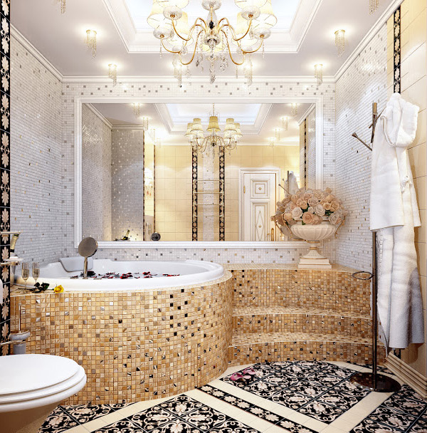 16 unique mosaic tiled bathrooms home design lover for Mosaic tile designs for bathrooms